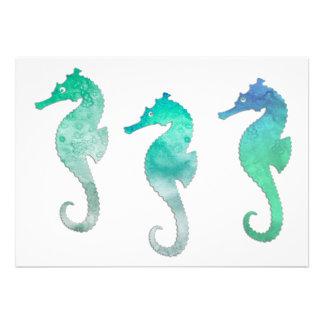 Seahorses verdes en colores pastel de la acuarela