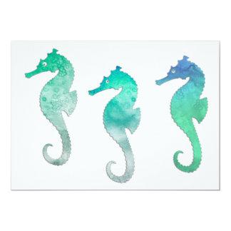Seahorses verdes en colores pastel de la acuarela comunicado