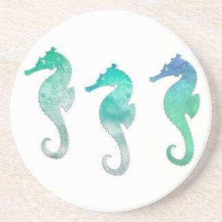 Seahorses verdes en colores pastel de la acuarela posavasos manualidades