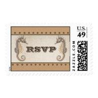 seahorses vintage wedding rsvp postage stamps