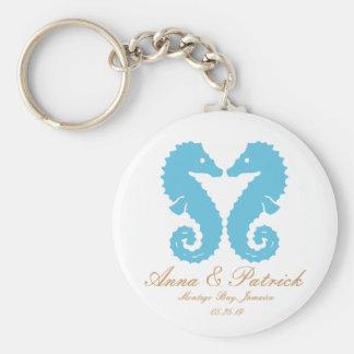 Seahorses Wedding Favor Personalized Key Ring Keychain
