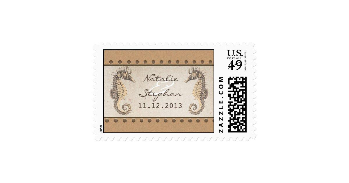 seahorses wedding invitations postage stamps zazzle