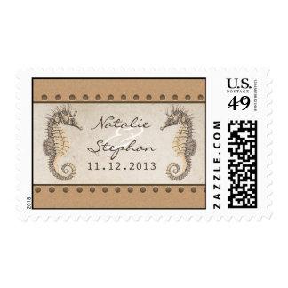 seahorses wedding invitations postage stamps