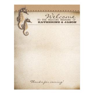 seahorses wedding welcome letterhead