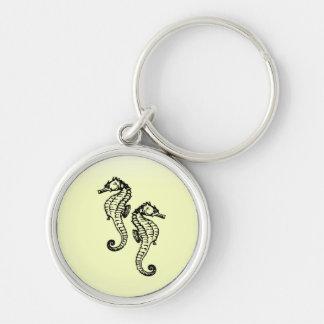 Seahorses Yellow Keychain