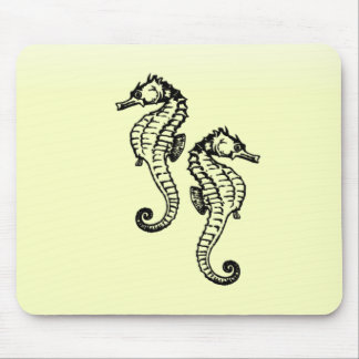 Seahorses Yellow Mouse Pad
