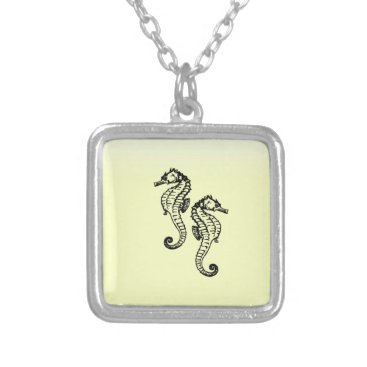 Beach Themed Seahorses Yellow Silver Plated Necklace