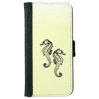 Seahorses Yellow Wallet Phone Case For iPhone 6/6s