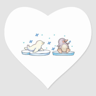 SEAL AND PENGUIN HEART STICKER