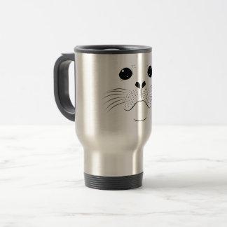 Seal face silhouette travel mug