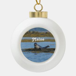 Seal in Casco Bay Maine Ceramic Ball Christmas Ornament