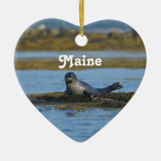 Seal in Casco Bay Maine Ceramic Ornament