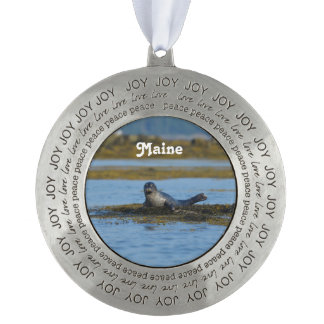 Seal in Casco Bay Maine Pewter Ornament