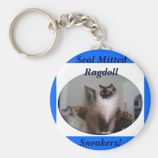 Seal Mitted Ragdoll, Sneakers! Basic Round Button Keychain