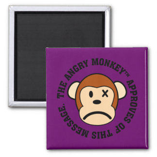 Seal of Approval: Message endorsed by Angry Monkey 2 Inch Square Magnet