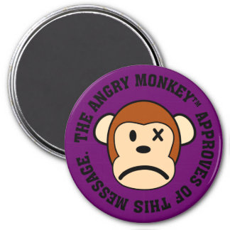 Seal of Approval: Message endorsed by Angry Monkey 3 Inch Round Magnet