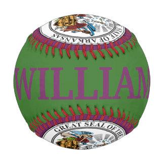Seal of Arkansas Customizable Name and Year Baseball