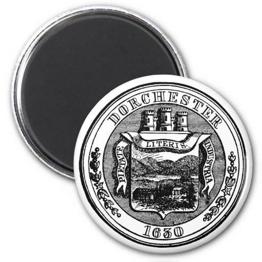 Seal of Dorchester Massachusetts, black 2 Inch Round Magnet