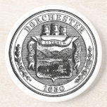 Seal Of Dorchester Massachusetts, Black Drink Coaster at Zazzle
