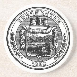 Seal of Dorchester Massachusetts, black Drink Coaster