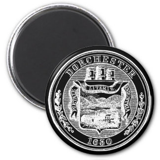 Seal of Dorchester Massachusetts, black Magnet