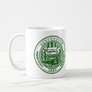 Seal of Dorchester Massachusetts, green Coffee Mug