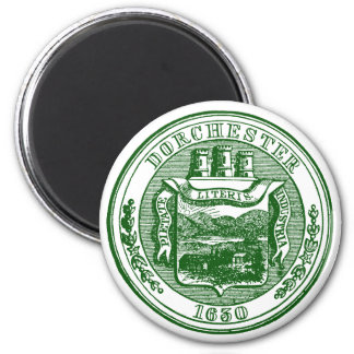 Seal of Dorchester Massachusetts, green Magnet