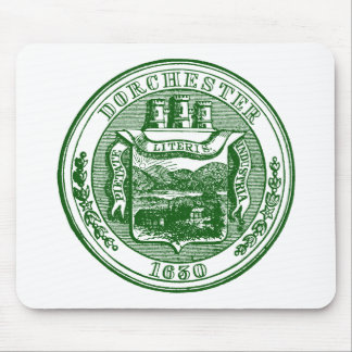 Seal of Dorchester Massachusetts, green Mouse Pad