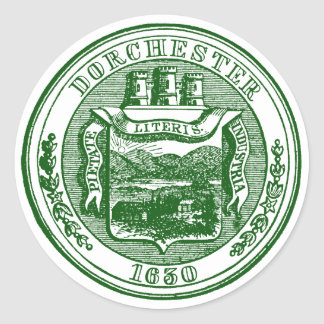 Seal of Dorchester Massachusetts, green Classic Round Sticker