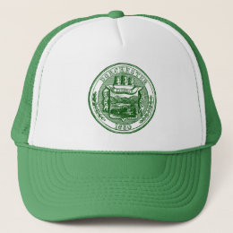 Seal of Dorchester Massachusetts, green Trucker Hat