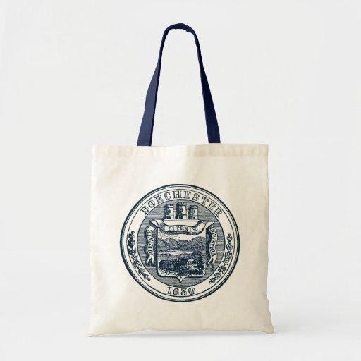 Seal of Dorchester Massachusetts, navy blue Canvas Bags