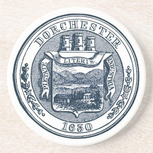 Seal of Dorchester Massachusetts, navy blue Coaster