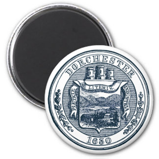 Seal of Dorchester Massachusetts, navy blue 2 Inch Round Magnet