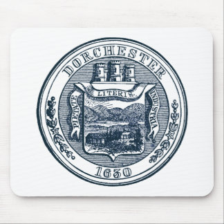 Seal of Dorchester Massachusetts, navy blue Mouse Pad