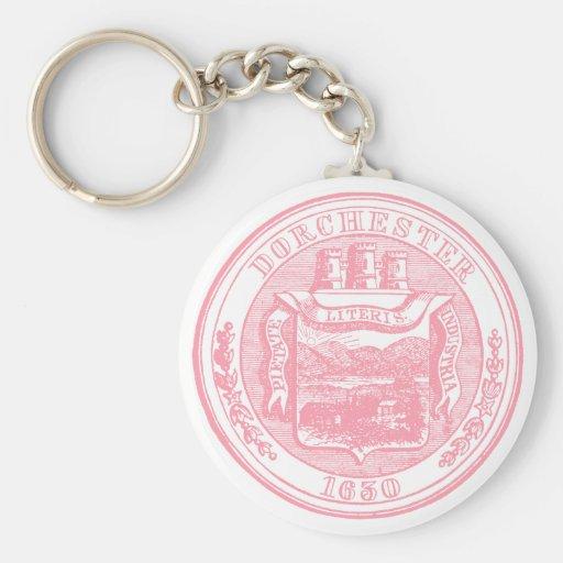 Seal of Dorchester Massachusetts, pink Basic Round Button Keychain