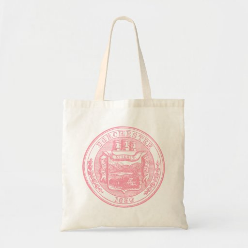 Seal of Dorchester Massachusetts, pink Canvas Bags