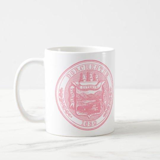 Seal of Dorchester Massachusetts, pink Coffee Mug