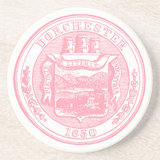 Seal of Dorchester Massachusetts, pink Drink Coaster