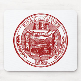 Seal of Dorchester Massachusetts, red Mouse Pad
