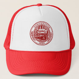 Seal of Dorchester Massachusetts, red Trucker Hat