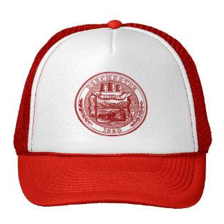 Seal of Dorchester Massachusetts, red Trucker Hat