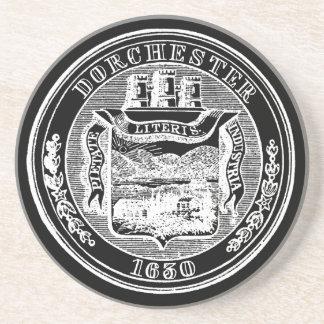 Seal of Dorchester Massachusetts, white Drink Coaster