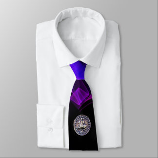 SEAL OF KNIGHTS TEMPLAR Blue Black Purple Swirls Tie