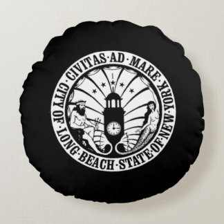 seal of Long Beach, New York Round Pillow
