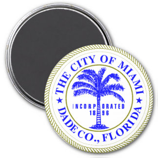 Seal of Miami, Florida 3 Inch Round Magnet