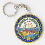 SEAL OF NEW HAMPSHIRE BASIC ROUND BUTTON KEYCHAIN
