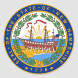 SEAL OF NEW HAMPSHIRE ROUND STICKERS