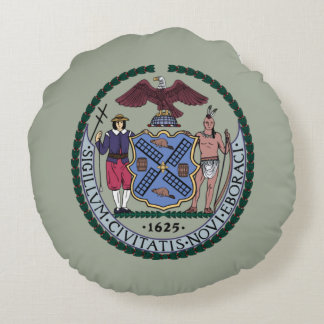 Seal of New York City Round Pillow