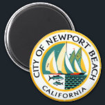 """Seal of Newport Beach, California Magnet<br><div class=""""desc"""">&#39;Seal of Newport Beach,  California&#39; insignia of the city,  similar to a coat of arms or crest. Be recognized with this official round emblem symbol.</div>"""