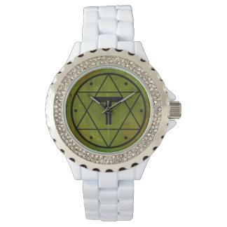 Seal of Solomon Cross of Tau White Enamel Watch